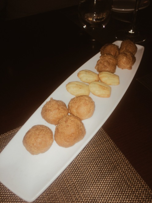 Gruyere puff pastry and savory polenta madelines